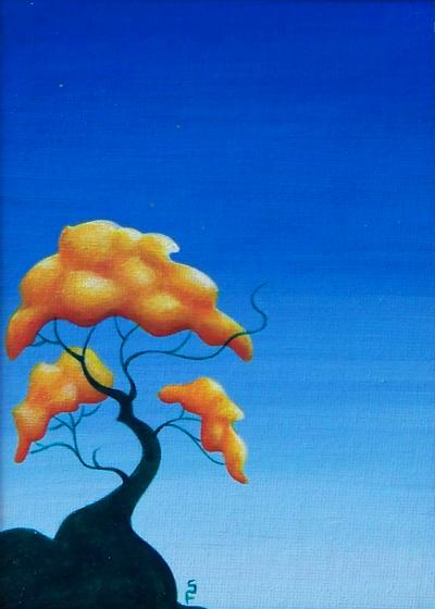 minimalist tree acrylic painting