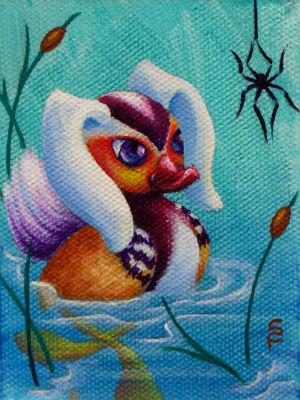 Mandarin Bunny mini acrylic painting