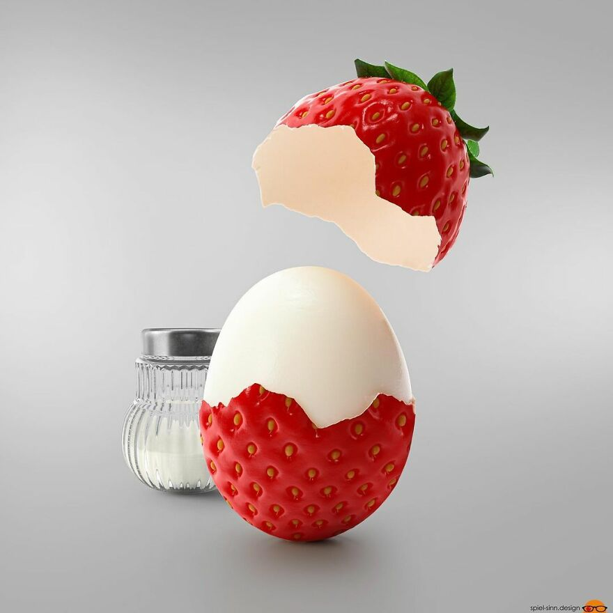 Egg with strawberry shell
