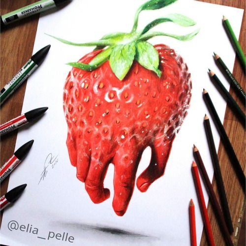 Strawberry with fingers