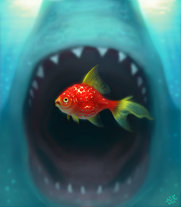 Strawberry fish about to be eaten by a shark
