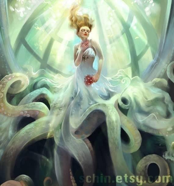 bridal octopus woman