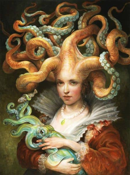 woman with tentacles on her head holding a squid