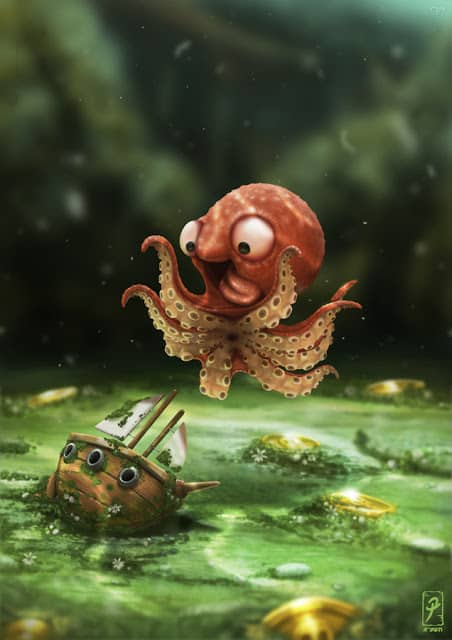 Cute octopus with clipper ship